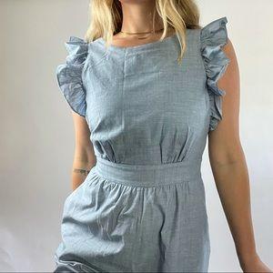 1901 Denim 100% Cotton Jumpsuit Romper Wide Leg Ruffle Sleeves Pockets